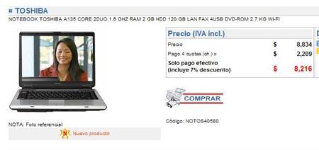 Laptop Toshiba por 16 dólares. Fuente: FayerWayer, 2007.