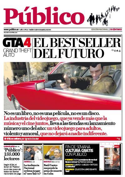 La portada de Público, de Madrid, con GTA.