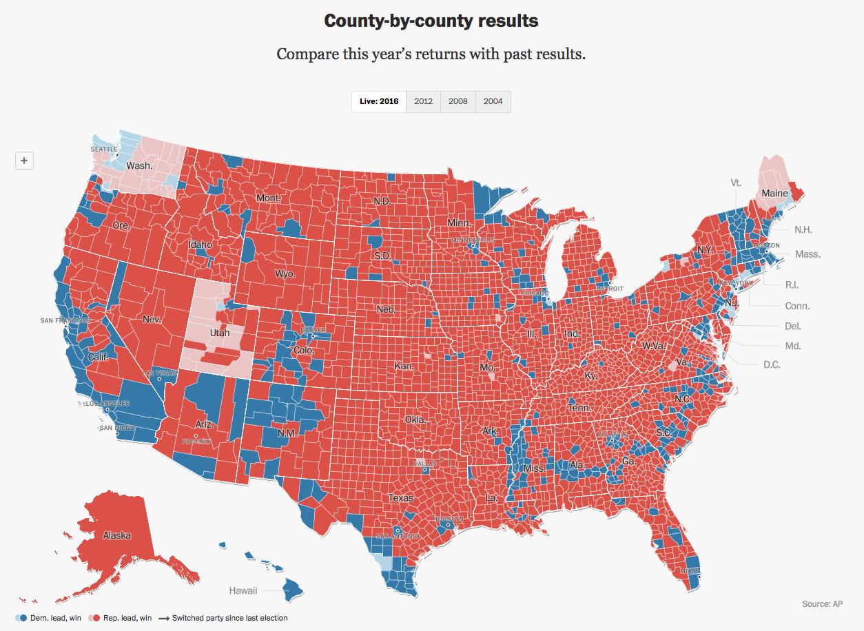 Mapa electoral condado por condado, elecciones presidenciales en Estados Unidos 2016.