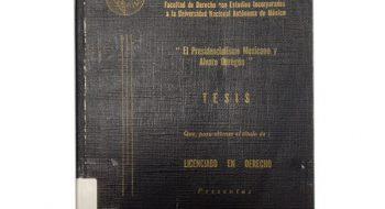 """Portada de la tesis de Enrique Peña Nieto, titulada """"El presidencialismo mexicano y Álvaro Obregón""""."""