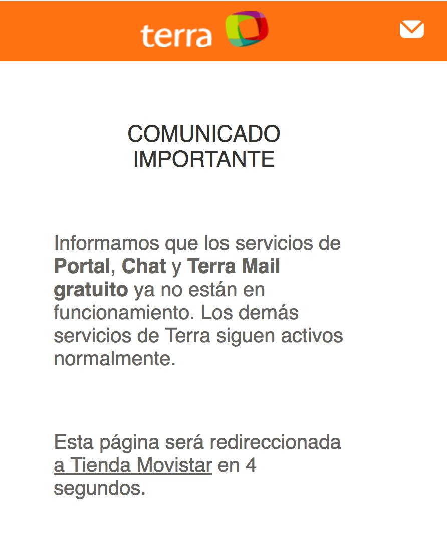 Aviso a los usuarios de Terra Networks.