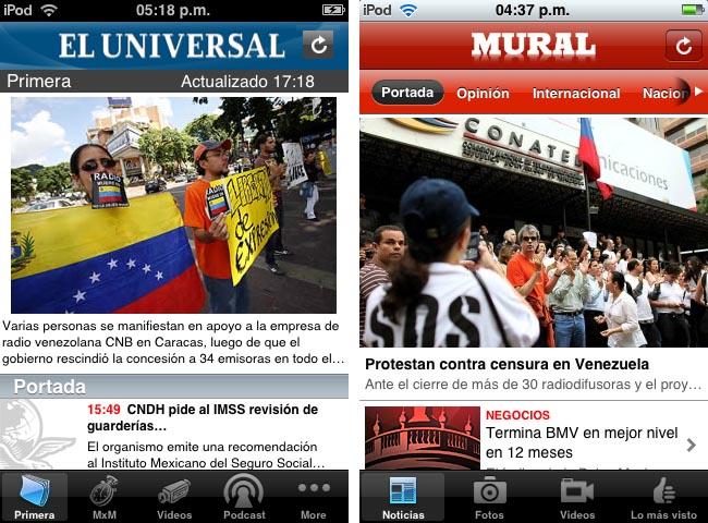Análisis apps de Reforma y El Universal, agosto de 2009.