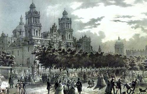 Paseo de las cadenas en una noche de luna, ilustración de G. Rodríguez en México y sus alrededores (1856).