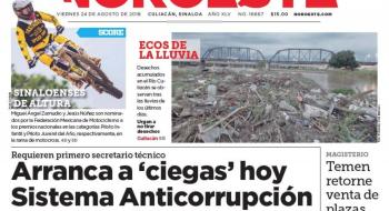 Portada 16,667 del periódico Noroeste, edición Culiacán, del 24 de agosto de 2018.