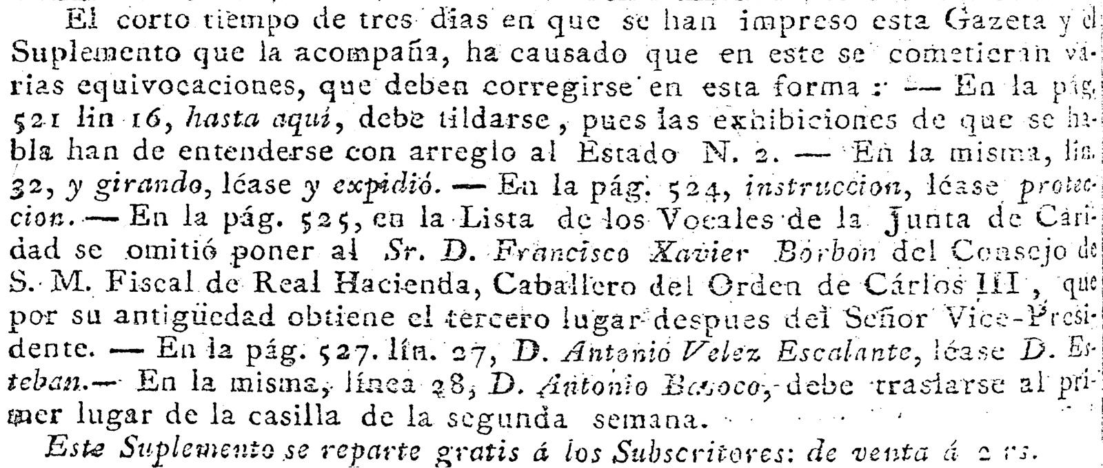 Fe de erratas en la Gazeta de México, editada por Manuel Antonio Valdés y Murguía, para la edición del 13 de agosto de 1806