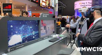 Estand de Deutsche Telekom en el Mobile World Congress 2019 de Barcelona, donde la compañía mostró soluciones 5G en la sección GSMA Innovation City. Foto: Cortesía GSMA
