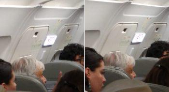 El presidente de México, Andrés Manuel López Obrador, en la fila detrás de la salida de emergencia del Airbus 320 de Interjet que cubre el vuelo 2217 Guadalajara-Ciudad de México, el 9 de marzo de 2019. Foto: Cortesía Valeria