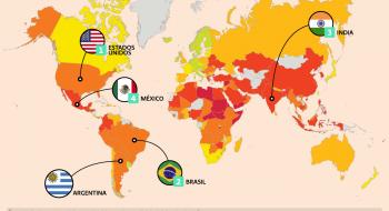 Los planes de crecimiento de Uber se soportan en sus cuatro más grandes mercados: Estados Unidos, Brasil, India y México. En 2018, el mercado que registró el mayor crecimiento para la empresa de transporte fue Argentina. Coincidentemente, todos los países referidos se encuentran entre aquellos en los que los derechos de los trabajadores se violan sistemáticamente o no están garantizados, y con leyes que favorecen a los empleadores, según datos del Índice Global de los Derechos Laborales 2018 de la International Trade Union Confederation (ITUC). Infografía: León A. Martínez / El Economista